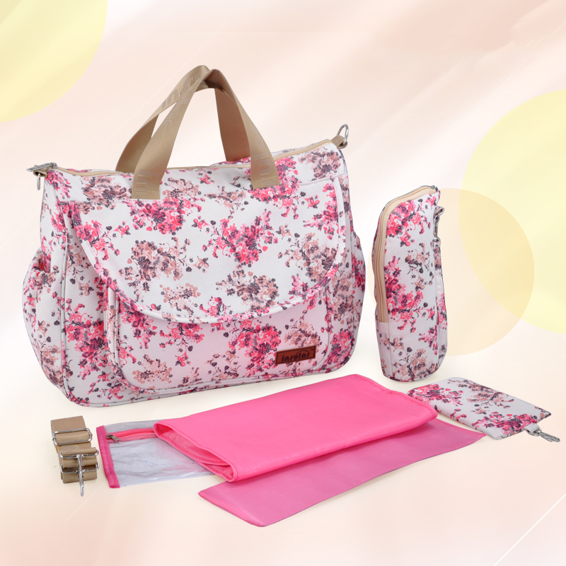 Insular Brand Floral Pattern Mommy Maternity Bag Waterproof Nylon Large Capacity Baby Care Nappy Bag Mummy Diaper Messenger Bag