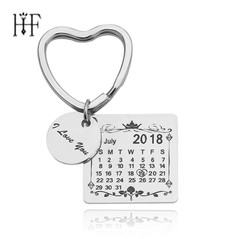 Heart Keychain Personalized Calendar Key Chain Signature Calendar Key Chain Date With Heart Valentine's Day Custom Porte Clef