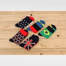 Men Cotton Socks Fashion Character Flag Sock Casual Colorful Striped Stars Print Socks For Men