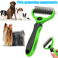 2 Sided Rake Cats Dogs Dematting Comb Hair Removing Pet Grooming Tool TB Sale