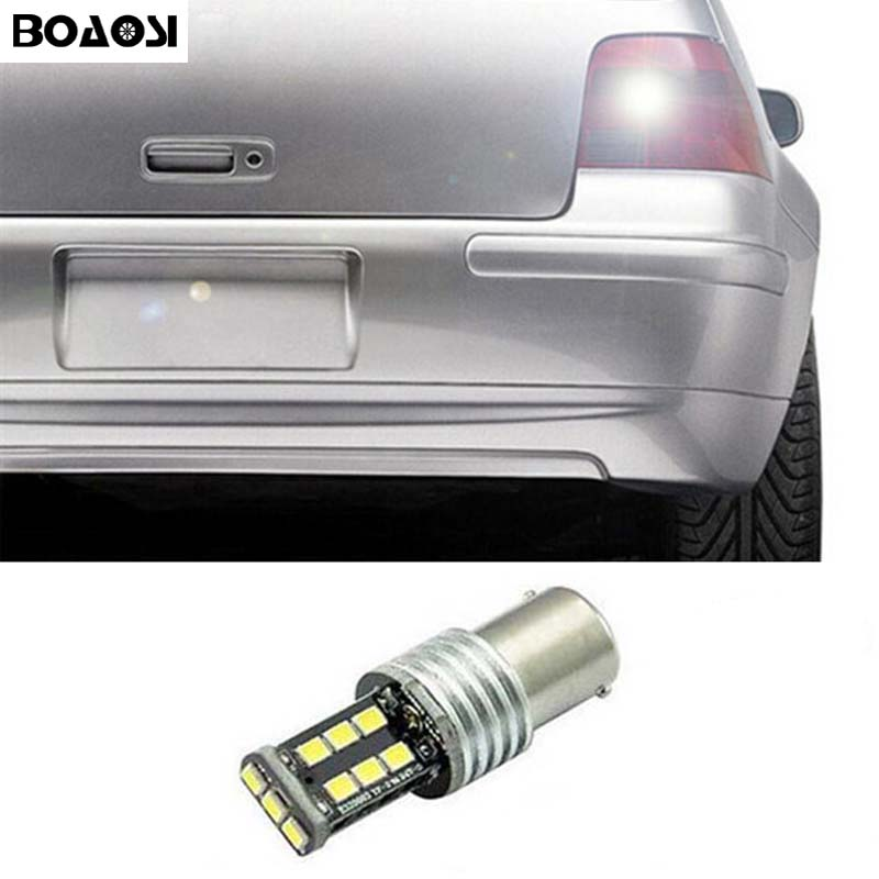 BOAOSI 1x Canbus Car LED Samsung Backup Reverse Light Bulb for Volkswagen touran polo jetta mk6 Passat B1 B2 B4 B3 B5 B6 T4 T5 wljh 2x canbus 20w 1156 ba15s p21w led bulb 4014smd car backup reverse light lamp for bmw 228i 320i 328d 328i 335i m3 x1 x4 2015