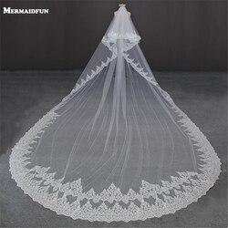 Кружевная двухслойная длинная вуаль с расческой, 5 метров