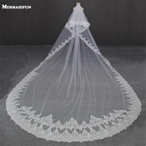 Image 1 - יוקרה 5 מטרים מלא קצה עם תחרה בלינג פאייטים שני שכבות ארוך חתונת רעלה עם מסרק לבן שנהב כלה רעלה