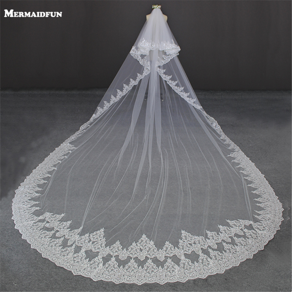 Luxury 5 Meters Full Edge With Lace Bling Sequins Two Layers Long Wedding Veil With Comb White Ivory Bridal Veil