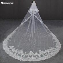 Voile de mariage Long avec peigne, bord complet de luxe 5 mètres avec paillettes en dentelle, deux couches avec peigne, blanc ivoire