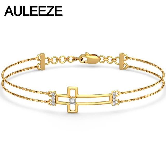 Classic Cross Natural Diamond Bracelet Genuine 14K Yellow Gold Real Bracelets For Women Beautiful Romantic Wedding Bracelet