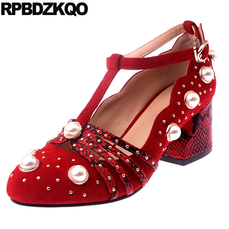 Retro Round Toe Handmade Suede Pearl Ankle Strap Ladies Shoes For Wedding Pumps Luxury T Bar Thick Size 4 34 Stud Medium RedRetro Round Toe Handmade Suede Pearl Ankle Strap Ladies Shoes For Wedding Pumps Luxury T Bar Thick Size 4 34 Stud Medium Red