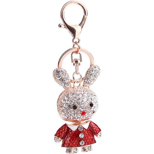 Rhinestone Rabbit Keychain Cute Bunny Keychains on A Bag DIY Metal Cartoon  Key Holder Key Chains for Car Animal Key Holder Gift 1619370c0ff8