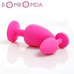 3 размера, силиконовая Анальная пробка, случайный цвет, Анальная пробка, свечи, драгоценный камень, анальная стимуляция, игрушки, секс-игрушк...
