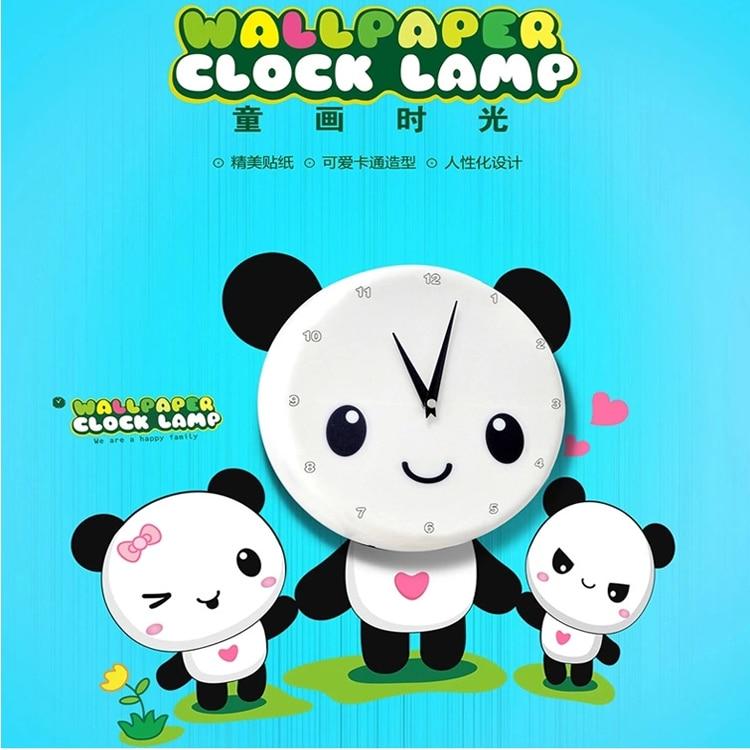 1 piece 44*58CM Creative Love Cute Panda Family Clocks Wall Stickers Home Decor Clocks adesivo de parede For Baby Bedroom