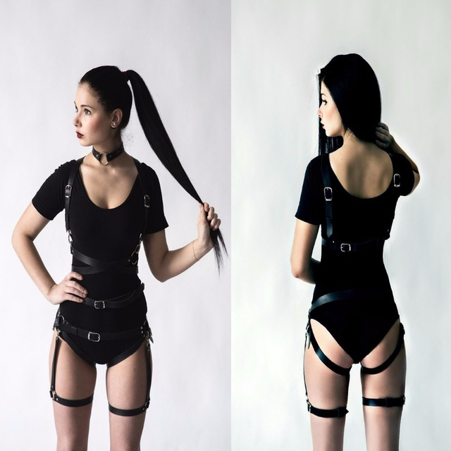 Sexy Pub Club Party Handcrafted Gothic Rock Leather Harness Waist harajuku Body Bondage Belt Straps for Jeans Dress one set