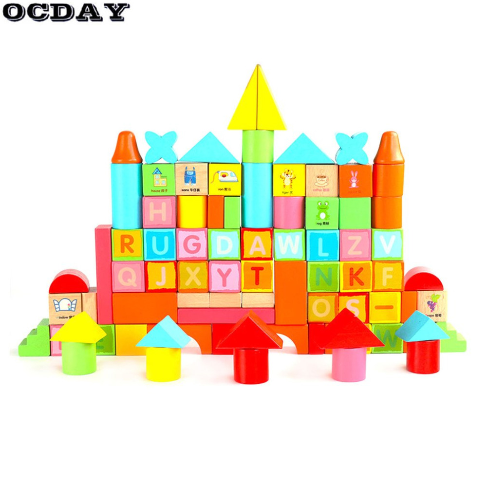 OCDAY 100pcs/Set Wooden Building Blocks Toys Multicolor Letters Digital Geometric Sorting Early Educational Toys For Children 38pcs set popular toy wooden gift bag a variety of building blocks of digital shape cognitive educational toys children toys