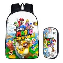 16 inç Mario Bros Sonic çantaları sırt çantası çocuklar okul gençler için çanta çocuk sırt çantaları kalem çantası setleri