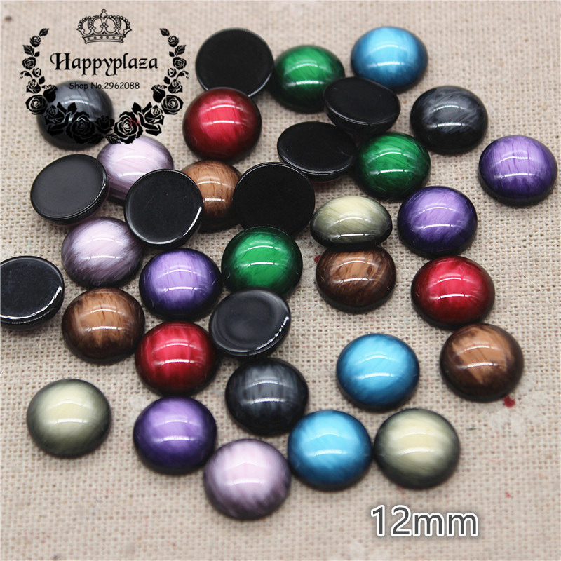 50pcs <font><b>12mm</b></font> Mix Colors Resin Imitation Gemstones Round Flatback Cabochon DIY Handmade <font><b>Button</b></font> /<font><b>Jewelry</b></font> Accessories image