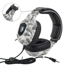 Game headphones wired control Camouflage colors professional E-sport headsets Omnidirectional MIC bass stereo denoise HD call