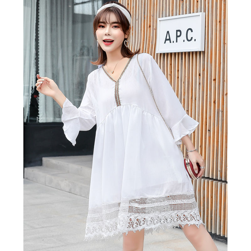 Lace Chiffon Maternity Dresses For Pregnant Women Clothes Vestidos Summer V-neck Pagoda Sleeve Pregnancy Dress Mother Clothing