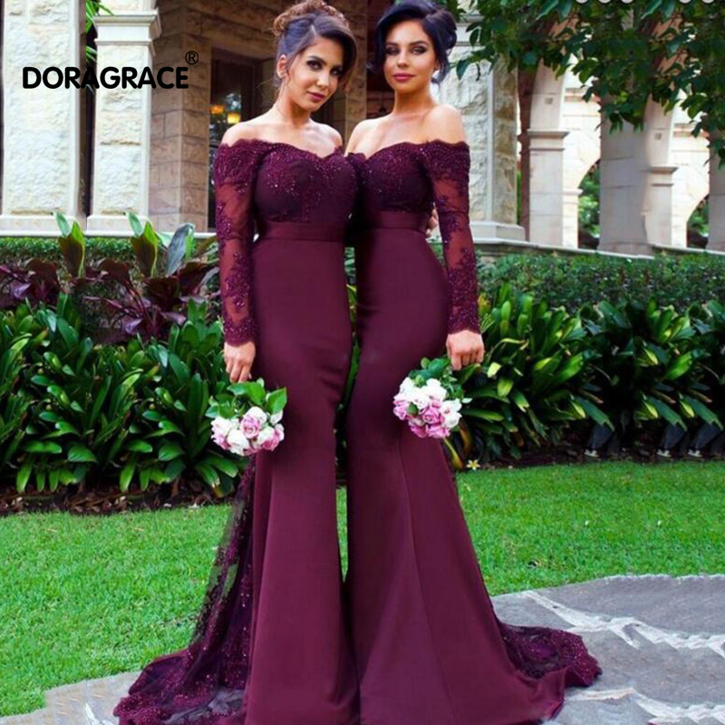 Sexy Lace Burgundy Bridesmaid Dresses 2019 Mermaid Long Sleeve Beaded Long Bridesmaid Dress Formal Maid Of Honor(China)