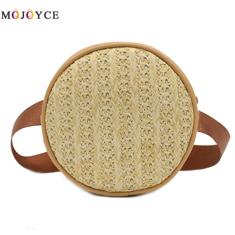 Small Straw Woven Women Fanny Pack Leather Round Waist Bag Fashion Ladies Belt Bag