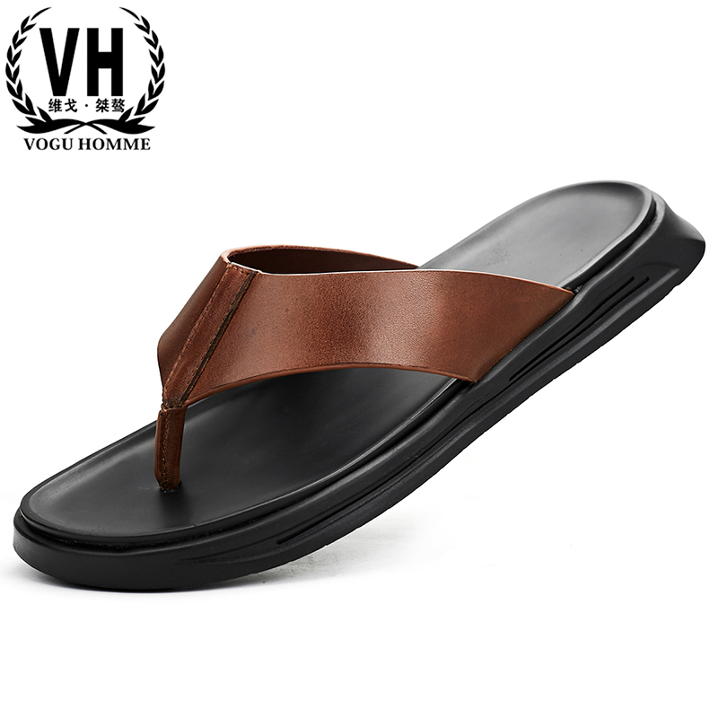 Genuine Leather Flip Flops casual Shoes beach outdoor thick bottom breathable anti skid slippers fashion Beach shoes man summer in Flip Flops from Shoes