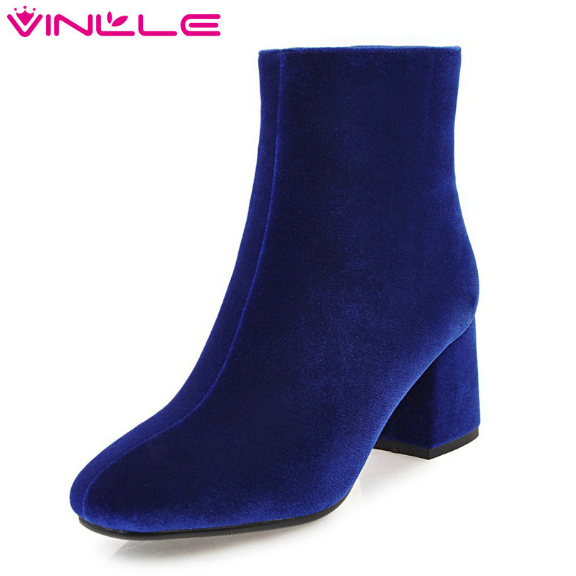 VINLLE 2018 Women Boots Elegant Ankle Boot Hoof High Heel Flock Pointed Toe Princess Style Ladies Motorcycle Shoes Size 34-43 new 2017 spring summer women shoes pointed toe high quality brand fashion womens flats ladies plus size 41 sweet flock t179