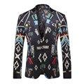 2017 nuevo de alta calidad de boutique de moda de un solo pecho chaqueta de los hombres delgados capa de color de impresión, Chaqueta Ocasional de los hombres Envío Gratis