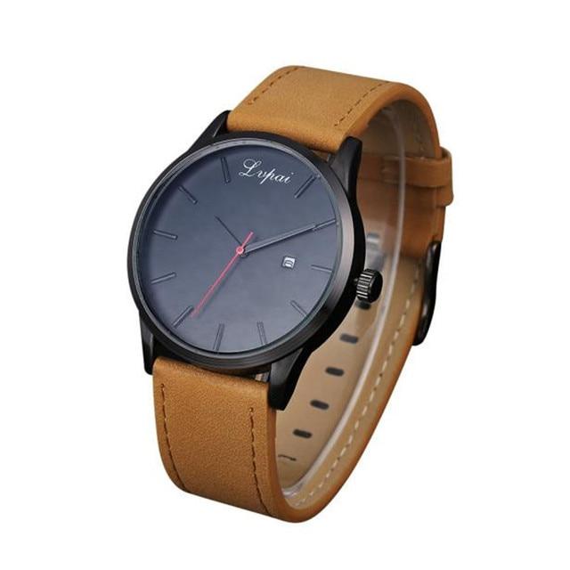e0755b2ed00 LVPAI high quality brand Man watch Popular Low-key Minimalist Connotation Leather  Men s Quartz Wristwatch free shipping Feb2