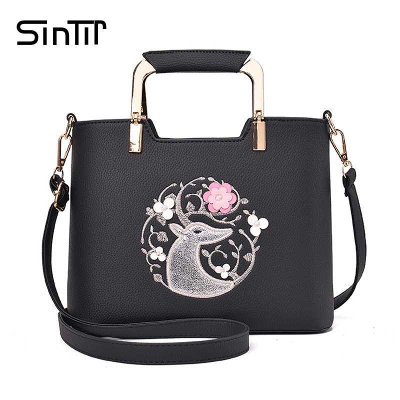 SINTIR Luxury Brand Cute Deer Embroidery Big Women Shoulder Bags High Quality Leather Ladies Tote Handbag Femme Crossbody Bags luxury chinese style women handbag embroidery ethnic summer fashion handmade flowers ladies tote shoulder bags cross body bags