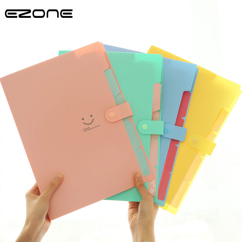 EZONE Document Bag File Folder Expanding Wallet 5 Cells Portable Organ Bag A4 Organizer Paper Holder Office School Supplies Gift