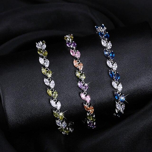 CWWZircons New Trendy 2018 Cubic Zirconia Jewelry Argento Colore Foglia di Fascino di Cristallo DELLA CZ Femminile Bracciali Braccialetti Per Le Donne CB060