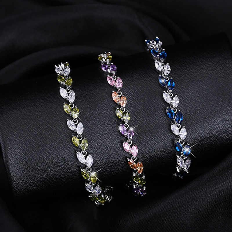 Cwwzircons Новинка 2018 украшение серебряного цвета из фианитов в форме очаровательного листка браслеты для женщин из фианитов CB060