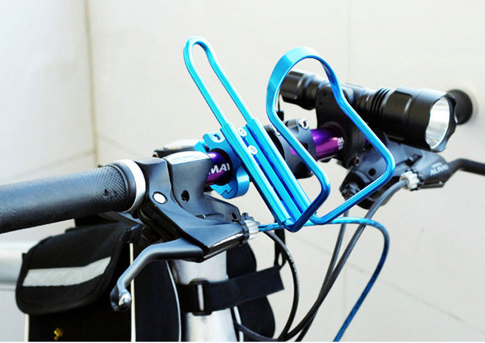 Dropship 1pc Aluminum Mountain Bicycle Double Water Bottle Holder Cage Rack Cycling Drinks Holder Outdoor Riding Drink Holder 3