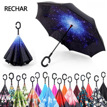 Фотография Guarda chuva invertido inverted reverse women car stand windproof Folding rain upside down umbrella woman c handle drop shipping
