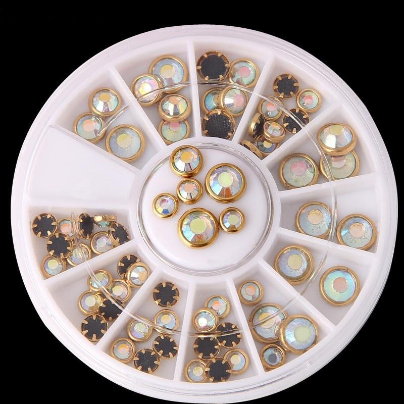 1 roda Prego Strass Fundo Preto AB Cor Bege Ouro Borda de Metal Beads Studs DIY Charme Pérolas Da Arte Do Prego Decorações