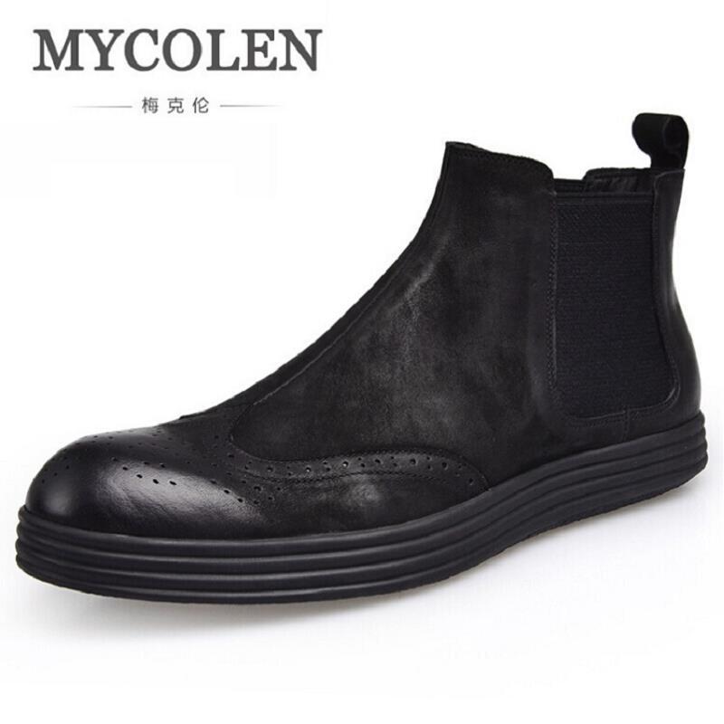 MYCOLEN Genuine Leather Men Chelsea Boots Retro Fashion Solid Cow Leather Men Winter Shoes Ankle Men Shoes Stivali Uomo Pelle