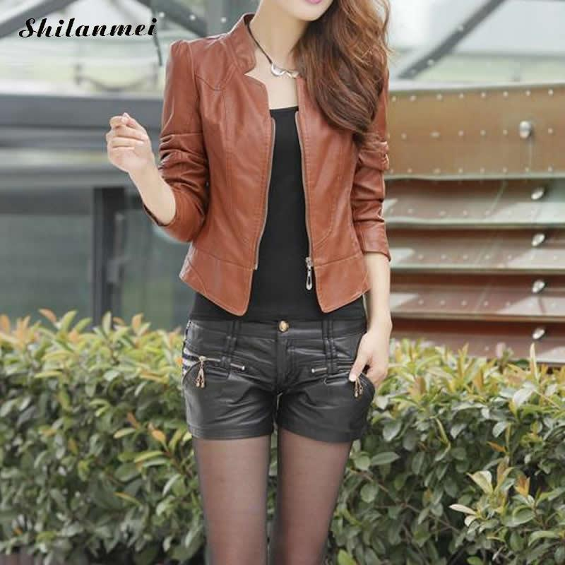 Hot Sale 2018 Motorcycle PU   Leather   Coat Slim Jacket Women Autumn New Fashion Short Coat Zipper Jacket Female Causal Outerwear