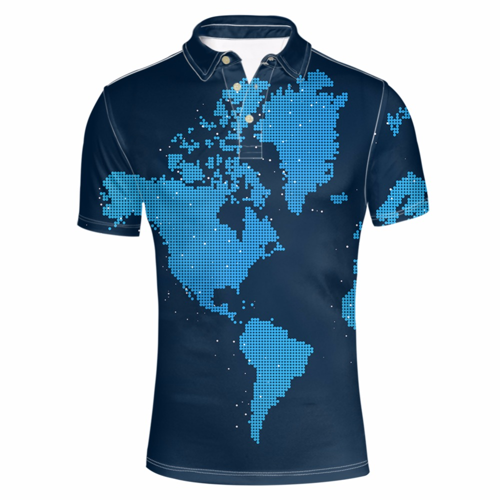 FORUDESIGNS Men's World Map Printed Camisa  Shirt Male Summer Short Sleeve Party Colorful Tee Fashion polo Fit Tops Shirt