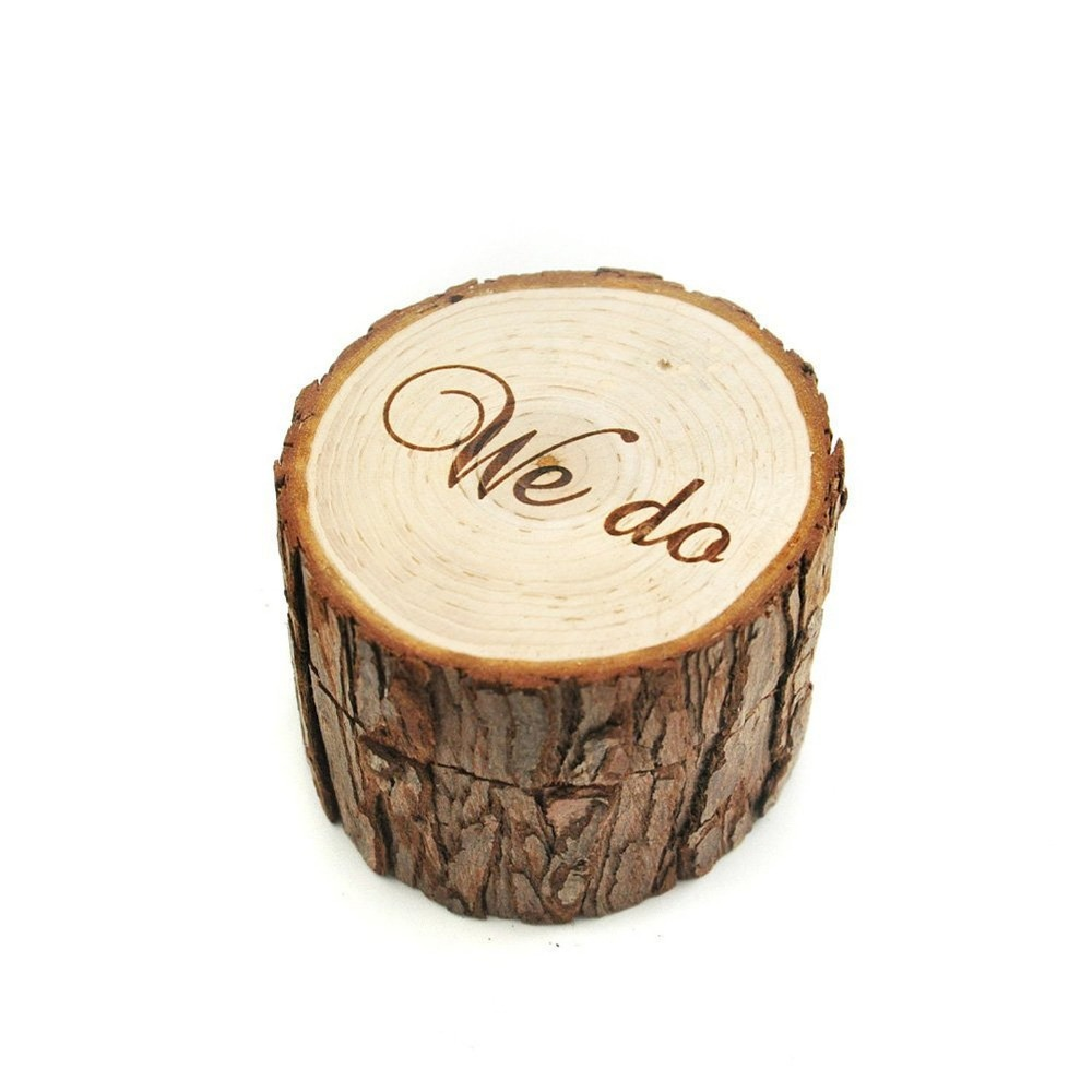 Rustic Wedding Ring Bearer Box Personalized We Do Decor Customized Gifts Wooden