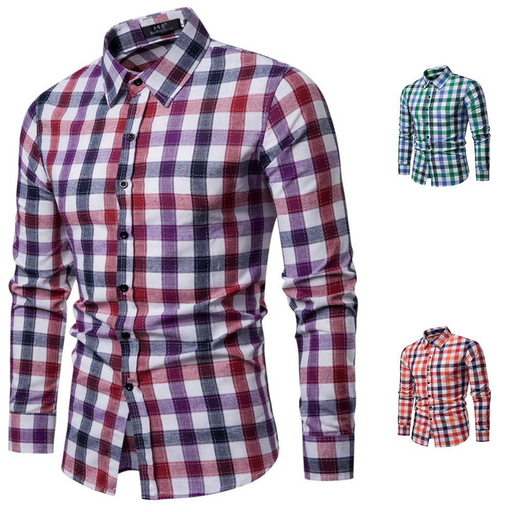Pandaie Mens Blouse Shirts Fashion Mens Autumn Long Sleeve Casual Fit Patchwork Round Collar Top Blouse