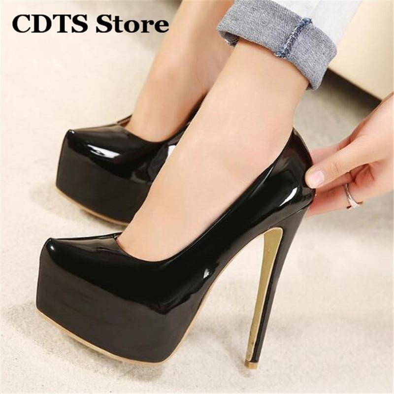 Crossdresser Plus:35-43 44 Spring/Autumn Stiletto 15cm Thin High Heels Sexy Nightclub Pumps Women's Wedding Shoes Zapatos Mujer