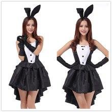 2017 Rabbit Halloween Costumes for Women Sexy Cosplay Dress Black Bunny Ears Babydoll Erotische Lingerie Uniform