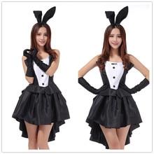 2017 Rabbit Halloween Costumes for Women Sexy Cosplay Dress Black Bunny Ears Babydoll Sexy Erotische Sexy Lingerie Women Uniform klabund erotische erzählungen