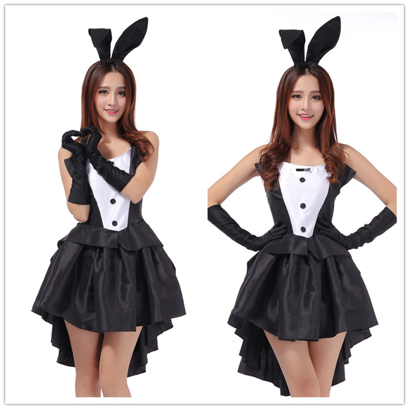2018 Rabbit <font><b>Halloween</b></font> Costumes for Women <font><b>Sexy</b></font> Cosplay <font><b>Dress</b></font> Black Bunny Ears Babydoll <font><b>Sexy</b></font> Erotische <font><b>Sexy</b></font> Lingerie Women Uniform image