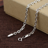 925 Silver Link Chain Necklace for Women Accessorice 3.8mm 45cm to 80cm Chain S925 Thai Solid Silver Jewelry Making Necklaces