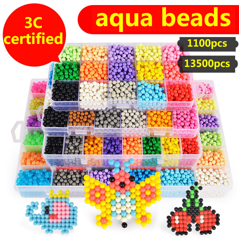 купить 30 Colors 13500pcs Aquabeads Spray Magic Beads Kit Ball Aqua beads Puzzle Game Fun DIY 3D puzzle Educational Toys For Children по цене 1652.62 рублей