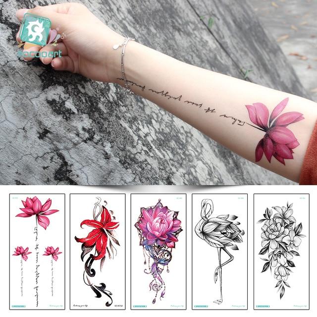 7d13b2122 Rocooart QC595-907 20X10cm Colorful Tatuajes Temporales Tattoo Sleeves Body  Art Flowers Flamingo Temporary Tatoos Sticker Taty