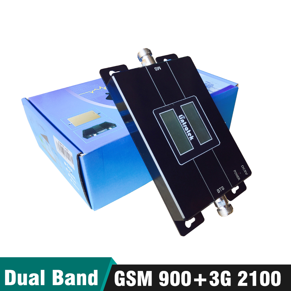 65dB Gain 17dBm LCD Display Dual Band Booster 2g GSM 900 mhz 3g UMTS WCDMA 2100 mhz Cellular handy Signal Repeater Verstärker