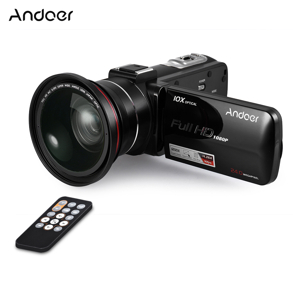 "Andoer HDV Z82 3"" LCD Touchscreen Video Camera 1080P 24MP Digital Camcorder Remote Control Face Detect w/ Wide Angle Lens / Mic-in Point & Shoot Cameras from Consumer Electronics    1"