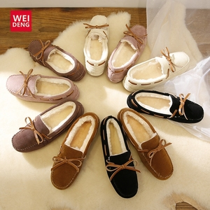 Image 1 - WeiDeng Suede Fur Moccasins Warm Genuine Leather Women Shoes Plush Boat Flats Female Casual Slip On Winter Snow Boots Slipper