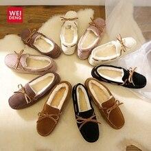 WeiDeng جلد الغزال الفراء الأخفاف الدافئة جلد طبيعي النساء الأحذية أفخم قارب الشقق الإناث عادية الانزلاق على الشتاء الثلوج الأحذية النعال