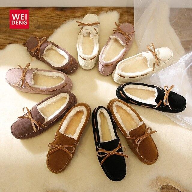 Weideng camurça mocassins de pele quente couro genuíno mulher sapatos de pelúcia barco apartamentos feminino casual deslizamento em botas de neve inverno chinelo